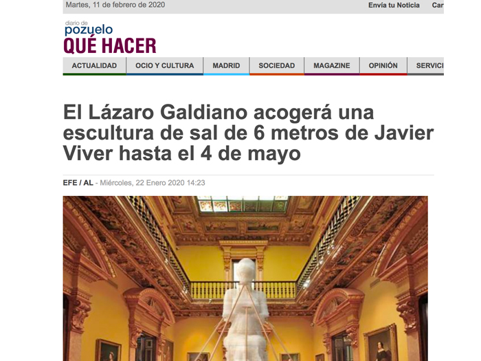 The Lázaro Galdiano will host a 6-metre salt sculpture by Javier Viver until 4 May. Diario de Pozuelo